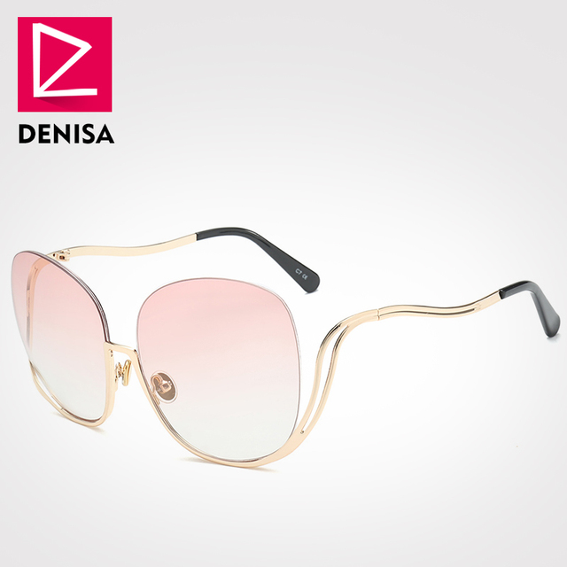 7f381acc12 DENISA Trendy Semi-rimless Sunglasses Women Fashion Round Big Glasses Retro  Oversized Eyewear Men UV400