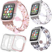 42mm 38mm Bling Diamond Cover Case For Apple Watch Series 1 2 3 Jewelry Agate Band