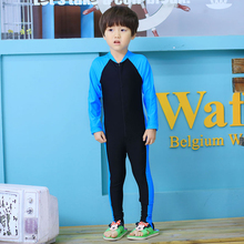New Boys Swimwear Kids Blue & Black Patchwork Long Sleeve Children Rash Guards Body Suit Summer Wear Swimming