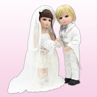 2015 New 45cm Lifelike SD/BJD Vinyl Baby Doll Toys Handmade Bride And Bridegroom Dolls The Wedding Decoration Gift