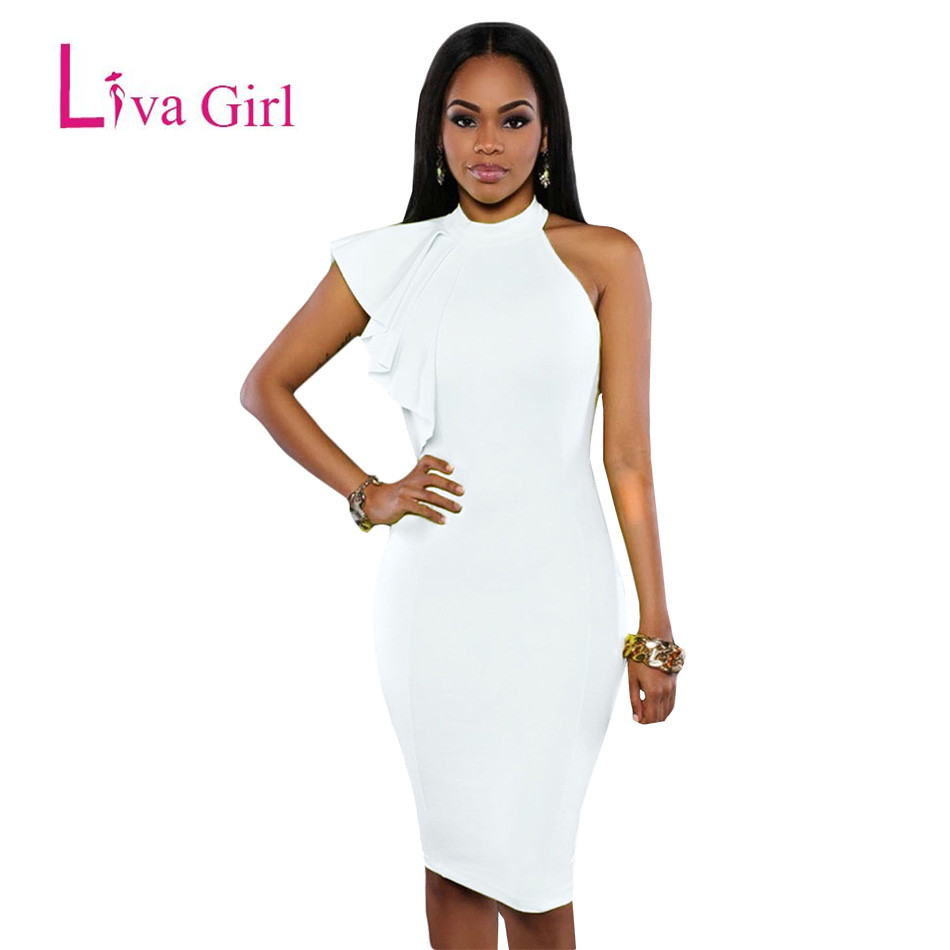 027cf69e610eb US $20.29 |Liva Girl Summer Dresses Mujer 2018 Yellow/White/Black One  Shoulder Ruffle Sleeve Sexy Midi Dress Runway Elegant Ladies Vestidos-in  Dresses ...