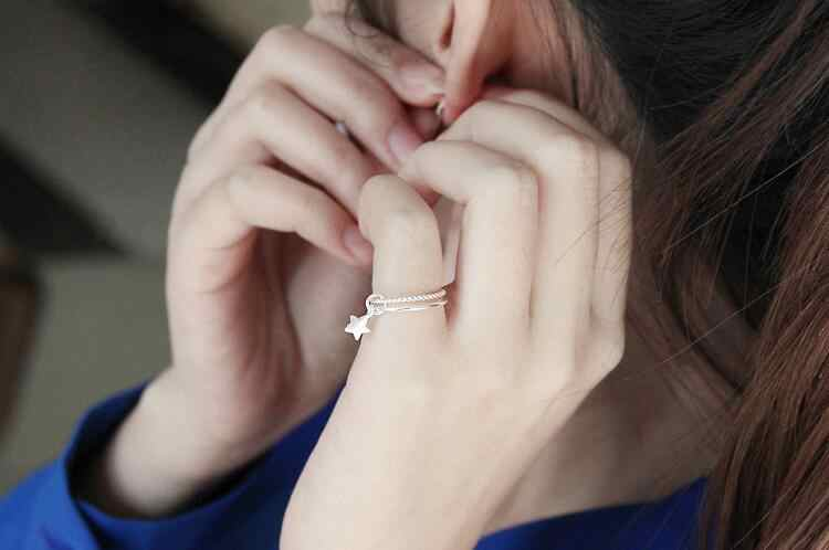 925-Стерлинговое Серебро двойная звезда Открытые Кольца для женщин Мода девушка гипоаллергенный Стерлинговое серебро ювелирные изделия VRS2041