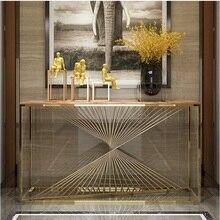 Консольный стол длиной 150 см с рамой из нержавеющей стали в позолоченном корпусе/мраморная столешница