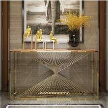 10 szt Opakowanie stół konsolowy o długości 150cm z rama ze stali nierdzewnej w złoconym korpusie marmurowym blatem tanie tanio Meble do salonu Stół konsoli Meble do domu