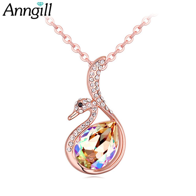 ANNGILL Romantic Crystals from Swarovski Elegant Swan Necklaces Pendants OL High Quality  Necklace Jewelry Female Accessories