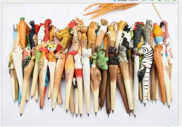 US $75 2 6% OFF|Wooden folk art animal carving new creative ballpoint  pen,Animal shape ballpoint pen, animal carving wood pens, hand carved  pen-in