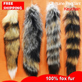 Free shipping imports fur 36*7CM small fox natural tail men autobike key chain bag pendant American autobike fashion key holder