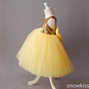 Image 5 - Di lunghezza del pavimento giallo tulle vestito dalla ragazza di fiore di paillettes doro top abito di sfera tutu aperto indietro del bambino del bambino di spettacolo festa di compleanno vestito