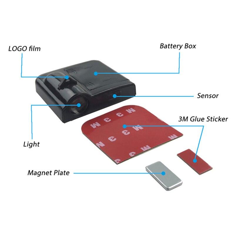 Image 4 - 4 sztuk bezprzewodowy projektor laserowy Led drzwi samochodu podświetlenie logo ghost shadow światła Led do stylizacji samochodu lampka drzwi samochodu akcesoria samochodowe czarnyLampy dekoracyjne   -