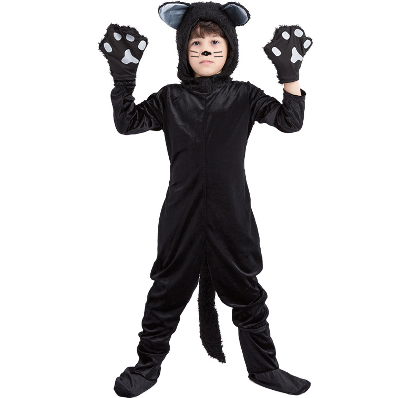 Halloween Adult Black Cat Costume For Men Women Cosplay Costumes Attached Cuddly Animal Costume Stage Performance Clothing