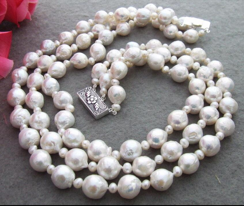 Jewelry Natural 10-12mm Bead-Nucleated Pearl Necklace-925 Silver ClaspJewelry Natural 10-12mm Bead-Nucleated Pearl Necklace-925 Silver Clasp