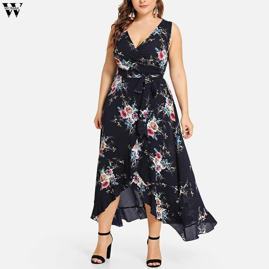 a66c64d4358dc Lycheer Plus size boho print long maxi dress women Big size summer ...