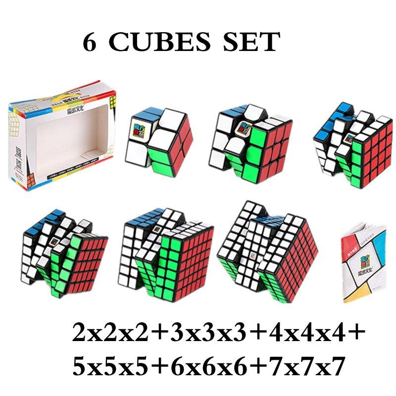 MOYU 6 Pièces Ensemble Cube 2x2x2 + 3x3x3 + 4x4x4 + 5x5x5 + 6x6x6 + 7x7x7 cubes 6 Pièces Ensemble cube de puzzle Jouets
