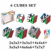 MOYU 6 Piece Set Cube 2x2x2 + 3x3x3 + 4x4x4 + 5x5x5 + 6x6x6 + 7x7x7 Cubes 6 Piece Set Puzzle Cube Toys