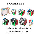 MOYU 6 Stück Set Cube 2x2x2 + 3x3x3 + 4x4x4 + 5x5x5 + 6x6x6 + 7x7x7 würfel 6 Stück Set Puzzle Cube Spielzeug