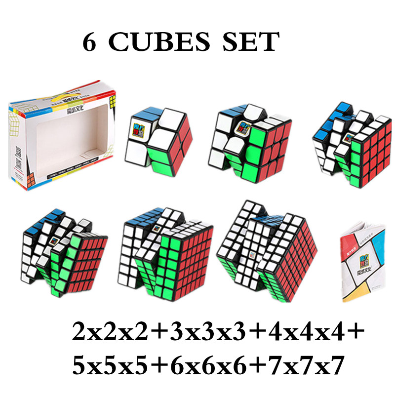 MOYU ensemble 6 pièces Cube 2x2x2 + 3x3x3 + 4x4x4 + 5x5 + 6x6x6 + 7x7 cubes ensemble de 6 pièces Puzzle Cube jouets