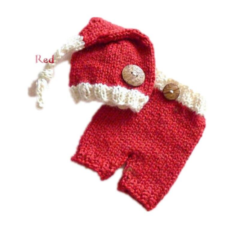 Bebê roupas acessórios para 0-6 monthself fada santa foto do bebê adereços crochê tricô lã vermelho & criança infantil natal