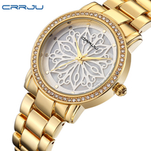 2016 Nouveau Crrju De Luxe Robe Marque De Mode Montre Femme Dames Or Diamant Relogio Feminino Robe Horloge femelle Relojes Mujer