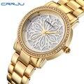 2016 Nueva Crrju Vestido de Marca de Moda de Lujo Reloj de Señoras de La Mujer del Diamante Del Oro Relojes Mujer Vestido Relogio Feminino Reloj mujer