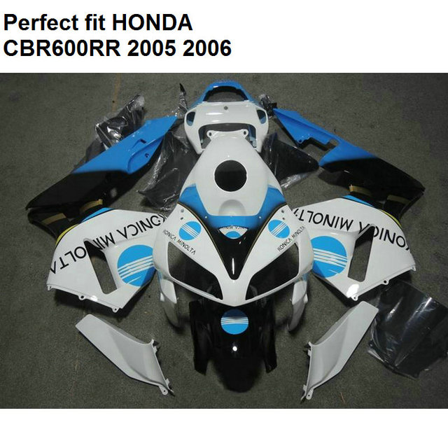 Us 379 0 Aliexpress Com Buy Aftermarket Body Parts Fairing For Honda Cbr600rr 2005 2006 White Blue Fairings Kit Cbr 600rr 05 06 Np55 From Reliable