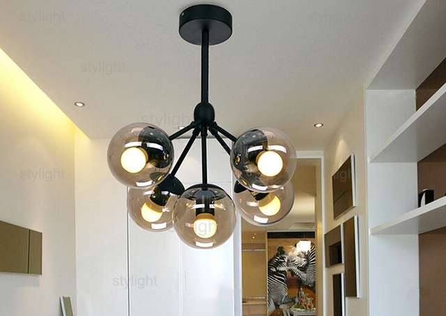 Modo Chandelier 5 Globes Modern Glass Chandeliers Jason Miller Pendant Lamp Droplight Living Room Dining