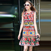 Best Quality 2017 Europe Autumn Newes O Neck Sleeveless Square Rose Print Hollow Out Embroidery Above Knee A Line Dress Women
