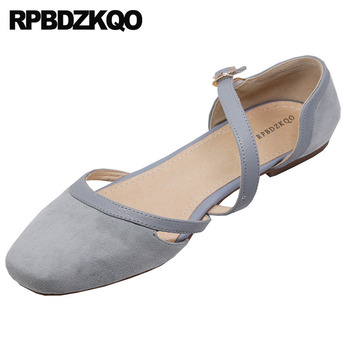 Ladies Suede Flats Genuine Leather Mary Jane 5 Square Toe Women Retro Runway Blue Wedding Ballet Shoes Sandals Ballerina China