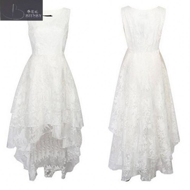 Country Style High Low Wedding Dress Boat Neck A Line