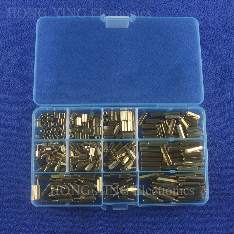 250pcs/set brass standoff Yellow M3 Thread Spacer Brass Hex Stand-Off Pillars Set Assortment Kit male to female Female Female