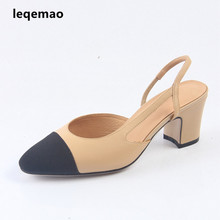 New Fashion Summer Office Lady Pump Shoes High Quality Women Real Genuine Leather Mid-Heels Close Toe Sandals Sexy Dress Shoes wetkiss wood high heels women summer sandals pointed toe footwear genuine leather sandals shoes new fashion office female shoes