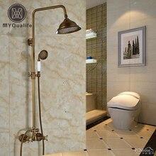 Luxury 8″ Rainfall Showerhead Bathroom Antique Shower Faucet Mixer Taps Wall Mount Dual Cross Handles