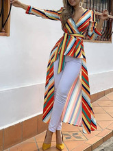 Moda feminina elegante escritório workwear assimétrico longa blusa feminina casual topo listrado amarrado frente dip hem camisa