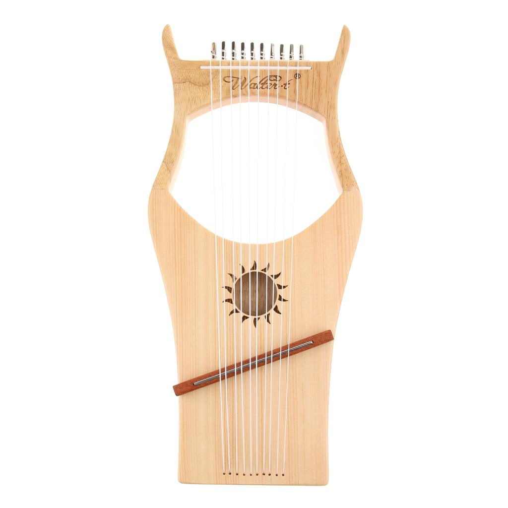 Tooyful Exquisite 10 Strings Lyre Harp Harfe Arpa with Tuning Key Storage Bag Strings Cleaning Cloth String Instrument rose gold weed grinder