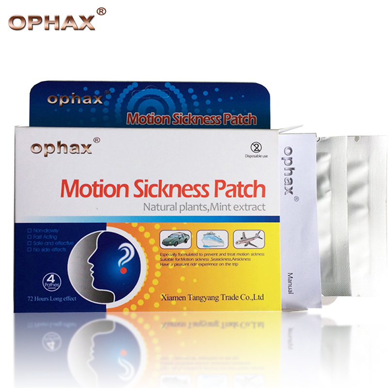 OPHAX 16Pcs/4boxes Travel Motion Sickness Patch Chinese Herbal Plaster Anti Dizziness Airsickness Seasickness Carsickness Health kongdy brand 10 pieces box anti motion sickness patch chinese traditional herbal medical plaster health care prevent vomitng