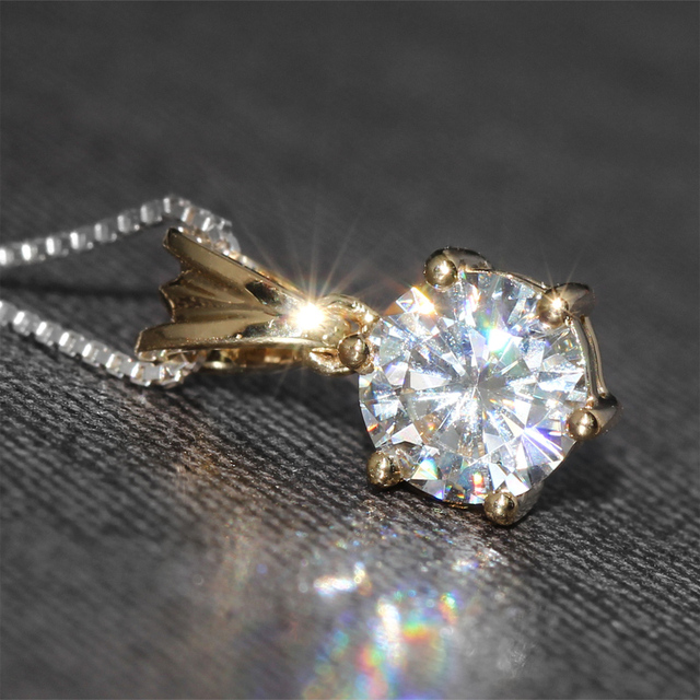 18K 750 Yellow Gold 1CT Lab Grown Moissanite Diamond Pendant Necklace