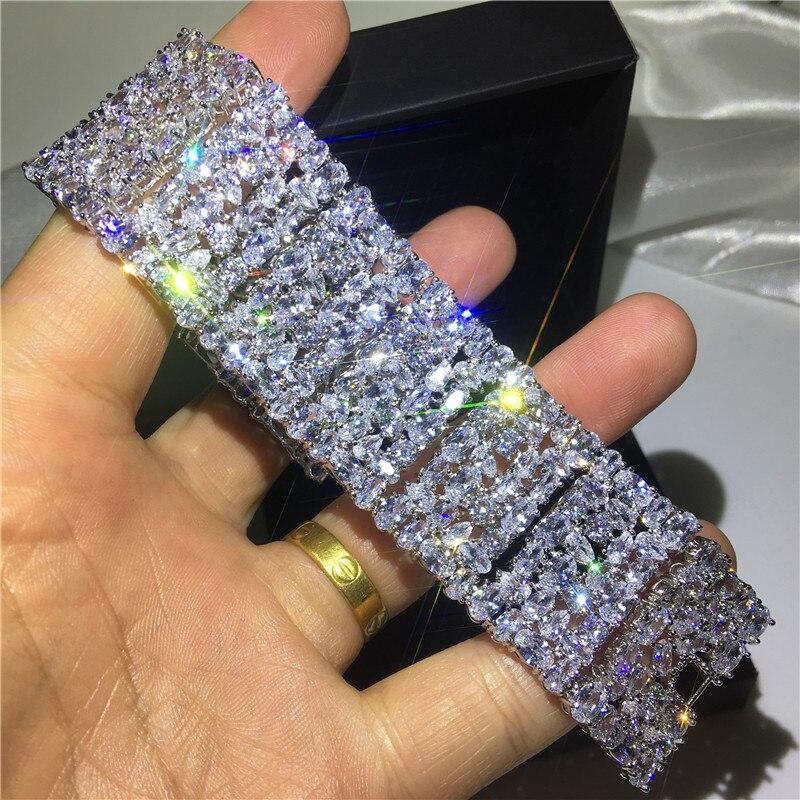 Bracelet femme de luxe 5A cubique zircone or blanc rempli fête fiançailles bracelets pour femme accessoires de mariage largeur 30mm