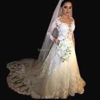 wuzhiyi wedding dress Vintage robe de mariee White A line Long Sleeve Wedding Gowns Beading Sheer Nude tulle vestido de noiva