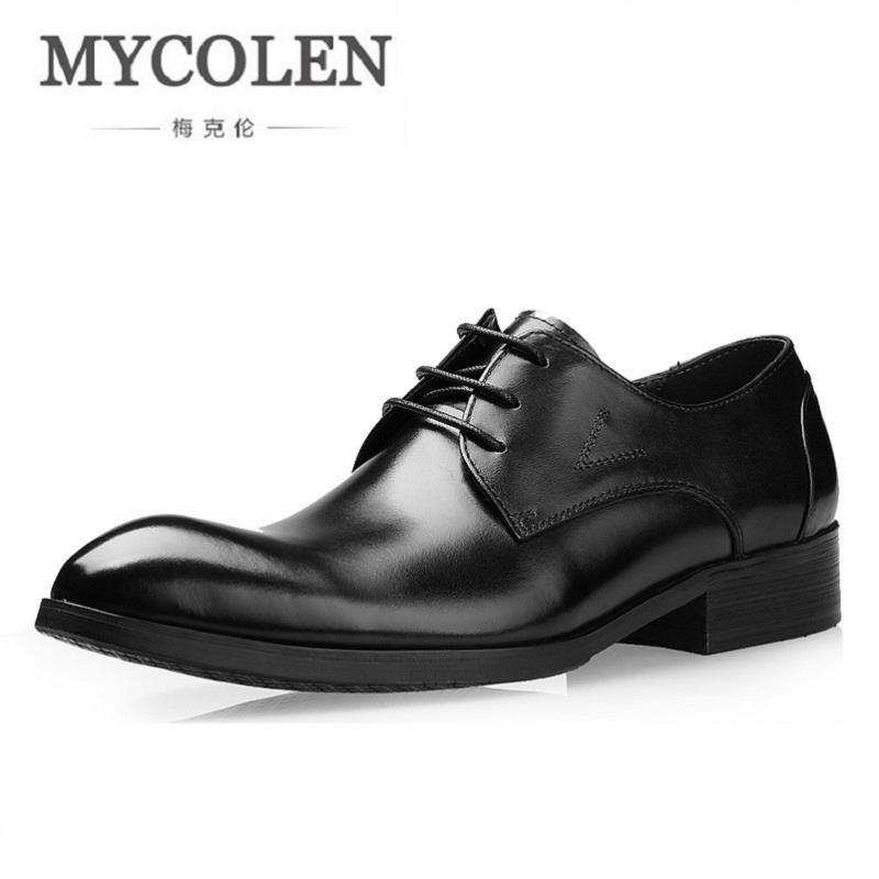 MYCOLEN Classic Designer Men Black Leather Shoes Round Toe Lace Up Dress Shoes Brown Breathable Business Derby Shoes 3 Colors round up 1 2 3