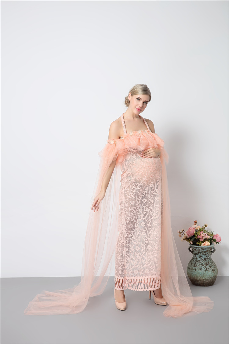 Neue Mutterschaft Fotografie Requisiten Rosa Kleider Voile Maxi ...