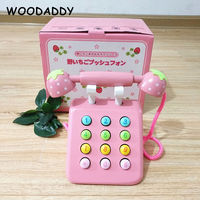 Baby Simulation Telephone Pink Strawberry Wooden Toys For Kids Photographic Props Phone Classic Toys Educational Gift Montessori