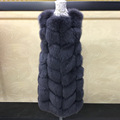 90CM Real Fur Vest Women's Genuine Fox Fur Jacket Overcoat Female Outerwear Women Natural Fur Waistcoat Girl's Fox Fur Vests