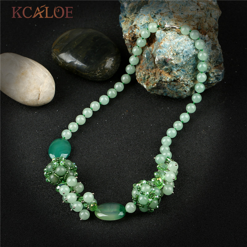 KCALOE Knotted Green Natural Stone Necklace Handmade Beaded Round Ball Semi-Precious Stones Crystal Necklaces Pendants For Women luna chiao fashion ins popular round natural stone fan fringed cotton tassel necklaces pendants for women