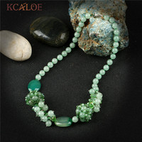 KCALOE Knotted Green Natural Stone Necklace Handmade Beaded Round Ball Semi Precious Stones Crystal Necklaces Pendants For Women
