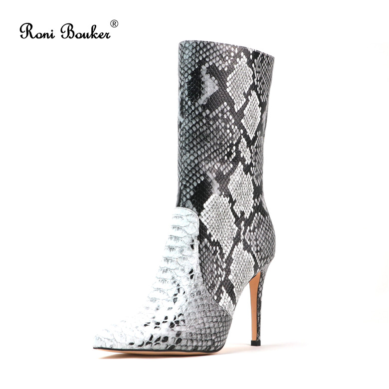Roni Bouker Women Zipper Boots Autumn Winter Snake Ankle Booties High Heels Fashion Pointed toe Ladies Sexy Shoes 2018 Big Size roni bouker women zipper boots autumn winter snake ankle booties high heels fashion pointed toe ladies sexy shoes 2018 big size