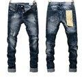 2016 Limitada Botón Raya Moda Hombre Jeans Dsq Comercio Al Por Mayor y Retail Brand New Desgastados Vaqueros de Los Hombres Rectos Delgados del Dril de Motorista pantalones