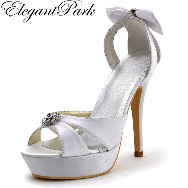 038903025f4f9 Summer Women sandals wedding bridal White Ivory Peep Toe super high heel  platform pumps Bow Satin Ladies bride prom dress Shoes