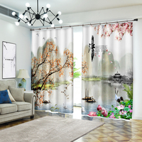Chinese Landscape Painting Of South China Bedding Room Living Room Sunshade 3D Window Curtains