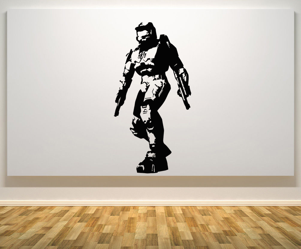 Halo Master Chief Xbox Ps Game Gaming Bedroom Decal Wall Art Sticker
