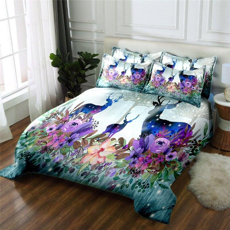 Nuevo Producto Elk 3D impreso 4 piezas juego de cama ropa de cama de microfibra ropa de cama edredón juego de sábanas