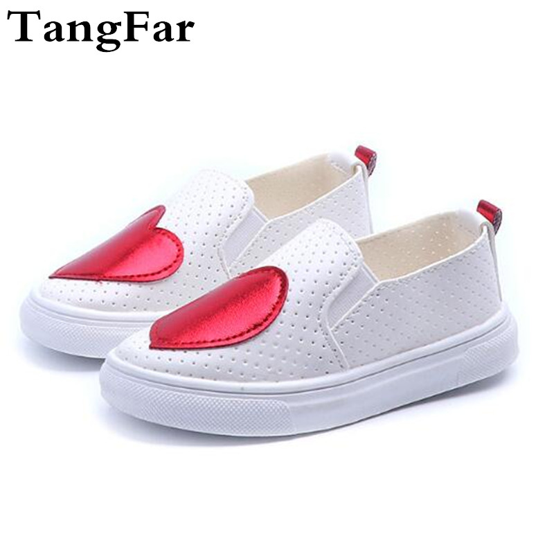 New Children Love Style Hollow Out Breathable White Causal Shoes ,Rubber Bottom Outdoor Leather Board Shoe Loafer